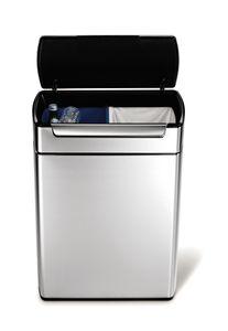 simplehuman 48 Liter touch-bar Recycler Abfalleimer, gebürsteter Edelstahl - 10,5x10,5x55,5 cm; CW2018