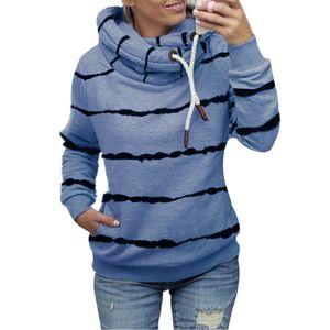 Damen gestreifter Hoodie lässiges Top-Sweatshirt,Farbe: Blau,Größe:S