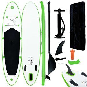 vidaXL Aufblasbares Stand Up Paddle Board Set Grün und Weiß