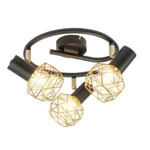 QAZQA - Modern Design Spot | Spotlight | Deckenspot | Deckenstrahler | Strahler | Lampe | Leuchte schwarz mit Gold | Messing 3-flammig Spotbalken-Licht verstellbar - Mesh | Wohnzimmer | Schlafzimmer | Küche - Stahl Rund - LED geeignet E14