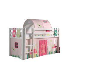 """Vipack Spielbett Pino, Liegefläche 90x200 cm mit Textilset Vorhang, Tunnel und 3 Taschen """"Spring"""""""