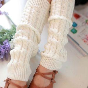 1 Paar Damen Stulpen Legwärmer Strümpfe Gestrickt Winter Beinwärmer Beinstulpen, Weiß