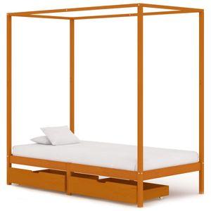 100x200 cm Himmelbett-Gestell mit 2 Schubladen, Einzelbett, Holzbett, Jugendbett für Schlafzimmer Massivholz Kiefer ❤9624