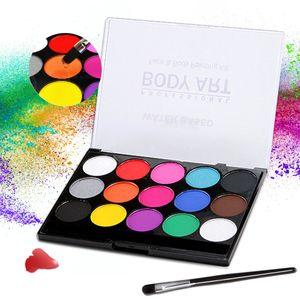 Body Painting Kinderschminke Set mit 15 Farben, Halloween Gesichtsbemalung Professionelle Palette mit Bürste, Waschbar, Perfek