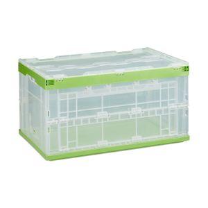 relaxdays 1 x Transportbox mit Deckel Stapelbox grün Transportkiste Aufbewahrungsbox