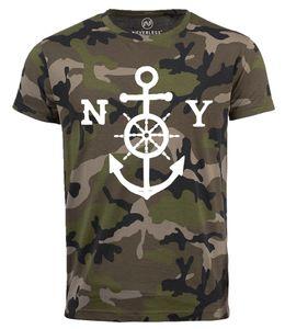 Neverless® Cooles Herren T-Shirt Anker New York Camouflage Camo-Shirt Tarnmuster camo XXL