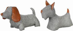 Rivanto® Türstopper Hund in sortierter Ausführung, ca. 1,6 kg, 31,4 x 10,8 x 26,9 cm, lustiger Türkeil, in grau mit braunen Kunstlederapplikationen