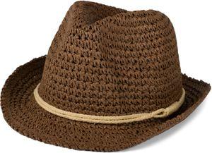 styleBREAKER Trilby Hut in leichter Häkel Optik mit Zierband und Krempe, Sonnenhut, Papierhut, Strohhut, Uni 04025026, Farbe:Dunkelblau-Beige, Größe:L / XL = 58 cm