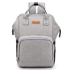 Ankommling Baby Wickeltasche Wickelrucksack, mit USB-Lade Port Kinderwagen-haken Isolierte Tasche für Unterwegs, Große Kapazität(Grau)