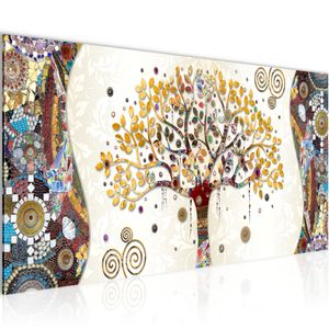 Gustav Klimt - Baum des Lebens BILD 100x40 cm − FOTOGRAFIE AUF VLIES LEINWANDBILD XXL DEKORATION WANDBILDER MODERN KUNSTDRUCK MEHRTEILIG 004612a