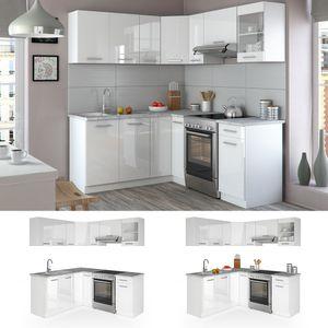 Vicco Küche Rick L-Form Küchenzeile Küchenblock Einbauküche 167x187cm Weiß Hochglanz
