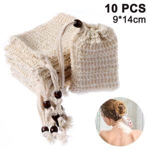10pcs Seifensäckchen Sisal Seifenbeute Natur Seifentasche Seifenreste Peeling Massage Aufschäumen und Trocknen der Seife