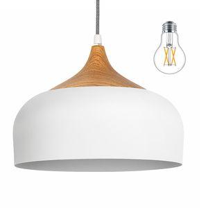tomons Pendelleuchte LED Deckenlampe Skandinavisch Moderner Simpler Stil für Wohnzimmer Esszimmer Restaurant, Weiß