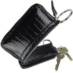Schlüsseltasche Autoschlüsseltasche Schlüsseletui mit Kroko Design   Leder  Schwarz