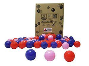 Bällebad24 - 200 Stück Bällebad Bälle , Rot-Pink-Lila Mix, Spielqualität, Baby Bälle,
