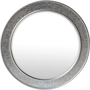 Glamour by Casa Chic Wandspiegel - 60 cm Durchmesser - Silber - Mosaik Glitzereffekt - Runde