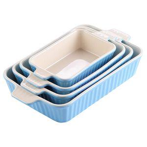 MALACASA, Serie Bake.Bake, 4er Set Porzellan Backform Kuchenform Brotbackform Back Schäle Auflaufform Ofenform Teller Suppenteller in 4 Größe Blau