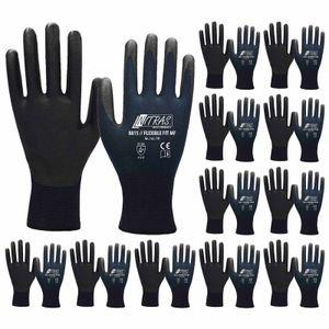 Nitras Arbeitshandschuhe Flexible FIT MF 8815 - Sicherheitshandschuhe - Teilbeschichtet auf Innenhand und Fingerkuppen - 12 Paar Größe:9