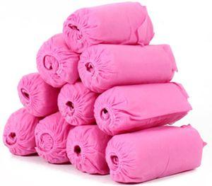 100 Stück Einweg Überziehschuhe Anti-Rutsch Schuhüberzieher, Pink