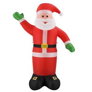 Juskys XXL Weihnachtsmann 250 cm groß – aufblasbarer Nikolaus mit Gebläse & LED-Lichterkette – Weihnachtsfigur mit Beleuchtung für außen