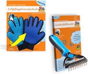 PetStore Unterfell-Bürste + Fellpflege-Handschuh | Entfernt Verfilzung Unterwolle & loses Fell | Hunde-Bürste Katzen-Bürste Unterwoll-Bürste Hunde-Handschuh Mikrofaser Tierhaar-Handschuh