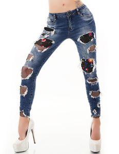 Crazy Destroyed-Jeans im Röhren-Style mit Löcher und Stickerei, Farbe: Dunkelblau, Größe: 38