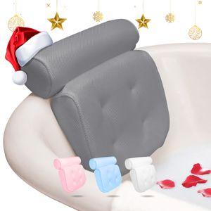 Essort Badewannenkissen,Komfort badewanne kopfkissen mit Saugnäpfen, badewanne nackenpolste für Home Spa Whirlpools, Badekissen Kopfstütze (38 x 36 x 8.5 cm) (Grau)