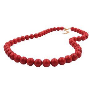 Kette, 10mm Perlen rot-schwarz, 45cm