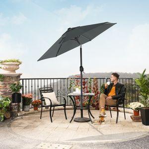 SONGMICS Sonnenschirm 200 cm, knickbar, UV-Schutz bis UPF 50+, Marktschirm, Gartenschirm, Schirmmast und Schirmrippen aus Metall, ohne Ständer, grau GPU202G01