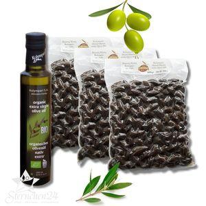 MOUSTERAKIS 07950 - 3x500g KALAMON Black Oliven in Salz eingelegt + 250mlOLIVENÖL KOLYMPARI S.A. 04502