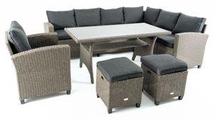di volio Polyrattan Sitzgruppe ROSSANO - Lounge Gartenmöbel-Set mit Ecksofa, Tisch, Sessel & 2 Hockern - Loungemöbel in Rattan-Optik inkl. zwei Fleecedecken