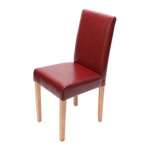 Esszimmerstuhl Littau, Küchenstuhl Stuhl, Leder  rot, helle Beine