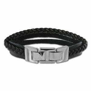 SilberDream Armband Leder Armschmuck schwarz Zierkordeln Herren Männer LAP003S