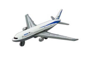 FLUGZEUG Boeing 777 mit Rückzug weiß 14x13cm Spielzeug Metal Geschenk Kinder 92