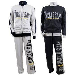 Uncle Sam Trainingsanzug grau oder schwarz Sweatjacke und Jogginghose bis 6XXL, Größe:3XL, Farbe:Schwarz SAM