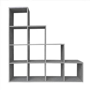 Regal Standregal Treppenregal Stufenregal Beton Grau Stufen 10 Fächer Raumteiler Leiterregal Spiele Bücherregal Aktenregal Würfel Treppe