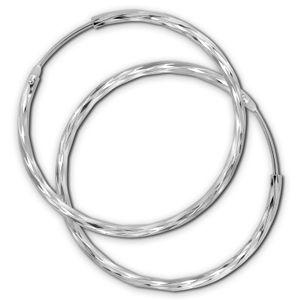 SilberDream Creolen für Damen 925 Silber silber glänzend Ohrringe 35mm SDO0083J