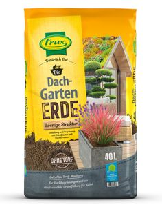 frux®Dach- Gartenerde,TORFFREI 40 Liter körnige Struktur
