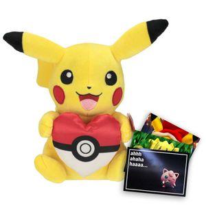 Pokemon Plüschtier ca. 20 cm Pikachu mit Pokeherz und exklusive GRATIS Grußkarte