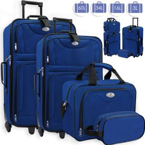 KESSER® 4tlg Trolley Kofferset | Reisekoffer Set  mit Rollen | Komplettes Business 4er Set | S M L XL | Netzfach | Rollen | Teleskopgriff | Koffer Reisetaschen Stoffkoffer | Handgepäck |, Farbe:Blau