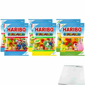 Haribo Super Mario Testpaket XL (je 2x175g Beutel Fruchtgummi, Sauer & Veggie) + usy Block