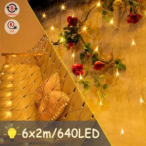 LZQ 6 x 2 m LED Lichternetz 640 LEDs Lichterkette Vorhang Lichter Netz Beleuchtung Deko Weihnachten für Innen und Außen, Halloween, Hochzeit, Party - Warmweiß, Dunkelgrün Kabel