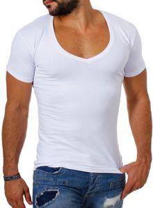 Young & Rich / Rerock Herren Uni T-Shirt mit extra tiefem V-Ausschnitt slimfit deep V-Neck stretch dehnbar einfarbiges Basic Shirt , Grösse:M, Farbe:Weiß