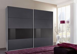 Schwebetürenschrank Kleiderschrank Bramfeld graphit schwarzglas 270cm