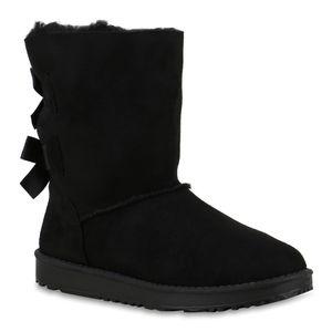 Mytrendshoe Warm Gefütterte Damen Stiefel Boots Schlupfstiefel Schuhe 814410, Farbe: Schwarz, Größe: 41