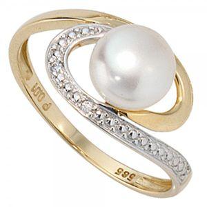 JOBO Damen Ring 585 Gold Gelbgold 1 Süßwasser Perle 2 Diamanten Brillanten Goldring Größe 54