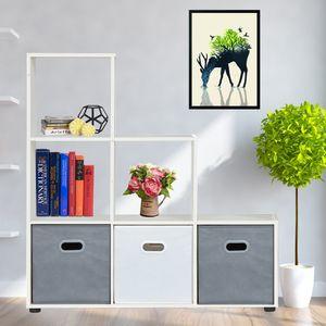 Bücherregal mit 6 Fächern Weiß Raumteiler 105x108x29 cm Standregal Treppenregal Stufenregal Regal Aktenregal Raumtrenner