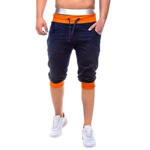 Herren Sommer Casual Elastic Joggings Sport Solid Baggy Pockets Kurze Hose Größe:XL,Farbe:Orange