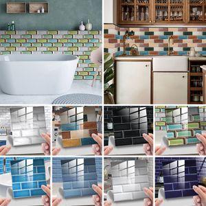 10 Stück 3D Mosaik Fliesen Aufkleber Küche Badezimmer Wandaufkleber,Farbe: blauer See,Größe:15x15cm