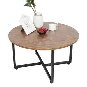 WYCTIN Couchtisch rund mit Eisengestell 70*70*40cm Kaffeetisch  Vintage Industrie-Design für Wohnzimmer
